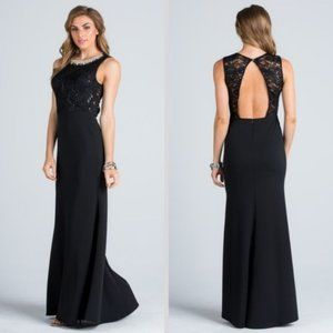 Embellished neck A-line sequin lace top Gown